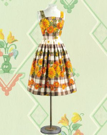 Gingham and sunflower 1970s play dress