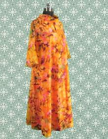 Colorful 1970s full figured dress