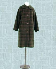 Tweedy plaid 1950s car coat