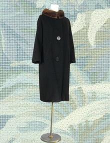Black cashmere 1950s coat