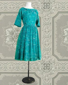 Vintage 1960s aqua print dress