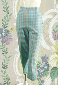 Blue floral 1950s clam diggers