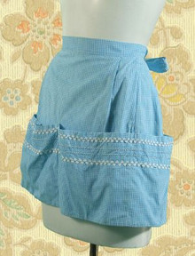 Blue microcheck gingham apron