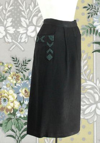 1950s black polished rayon skirt