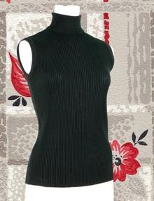 Simple sleeveless black turtleneck