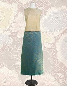 1960 gold damask 2 piece dress