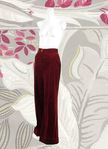 Cotton velveteen wide leg pants