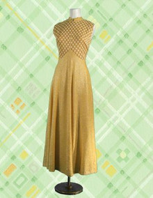 Gold lame checkered gown from the 60s