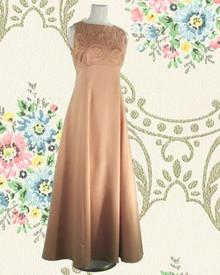 Blush satin sleeveless gown