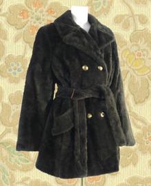 Chocolate brown faux fur winter coat 70s