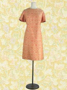 Coral and gold day dress with jacket