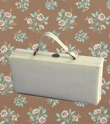 Large 1950s cream vinyl purse