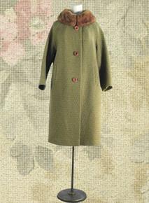 Sage green wool car coat 1960s
