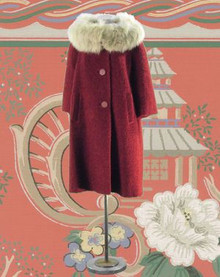 Spectacular carmine red and fur coat