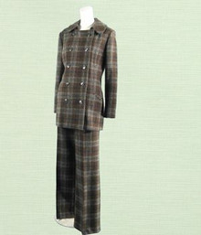 1970s brown wool plaid suit