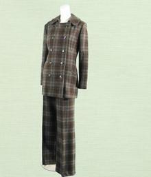 1970s brown wool plaid suit