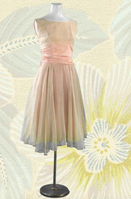 Chiffon and satin salmon pink frock