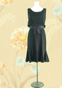 1970s Flouncy black evening dress