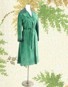 Long green suede 1970s coat