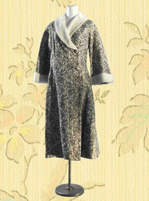 1960s Brocade & faux fur hostess coat