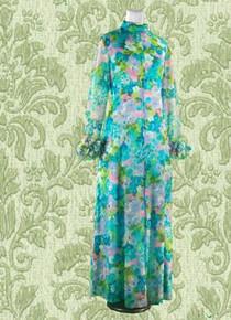 1970s Full length floral dress