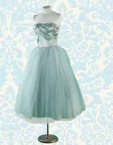 1950s Ice blue strapless frock