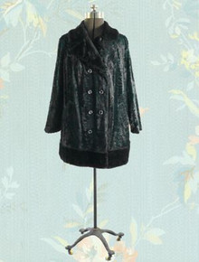 1970s Faux fur pea coat