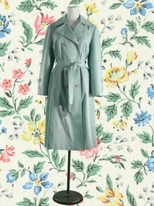 1970s Seafoam trench with vinyl piping