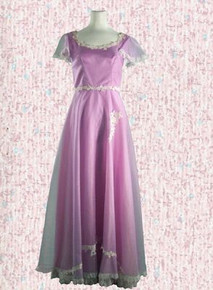1970s Lavender and lace evening gown