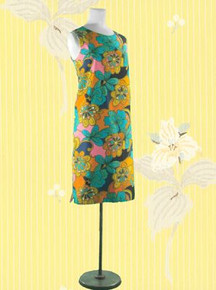 1960s Hawaiian print lined cotton shift