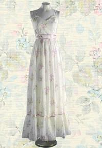 1970s Floral sleeveless prairie dress
