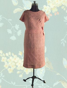 1950s Lace over taffeta dinner dress