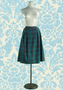 1950s Box- Pleated Woven Cotton Skirt