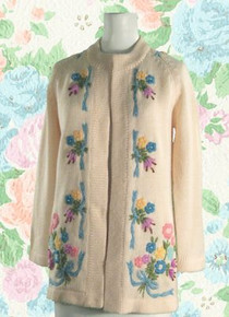 1950s silk lined wool sweater jacket