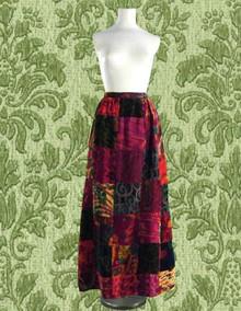 Crushed Velvet Patchwork maxi skirt 1960s