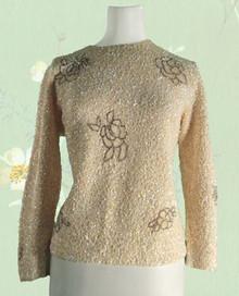 1950s Cream sequin beaded wool sweater
