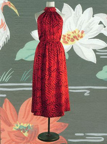 1970s halter-neck dress - black animal print on red