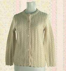 1970s acrylic cream colored cable-knit sweater