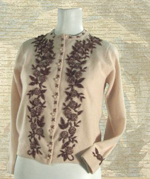 1950s dark cream color, wool & angora beaded sweater