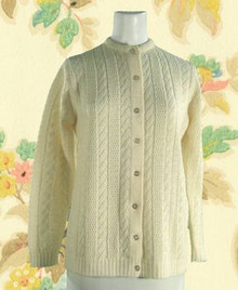 Early 70s sweater with 'feather' style cable and open-work knit.