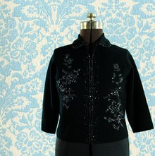 Jacket-style knit sweater, black with beaded detail -1950s
