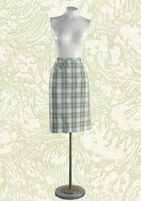 Bobbie Brooks 1960s golf skirt - tan and blue madras