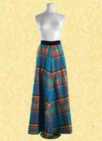 Late 70s madras circle-skirt with velvet waistband