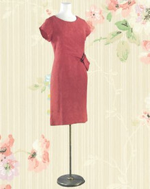 1960 silk jacquard red party dress