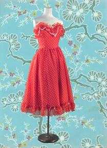 1980s Gunne Sax polka dot dress