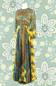 Late 60s garden of eden print long dress
