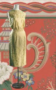 Early 60s brocade butter-yellow sleeveless dress