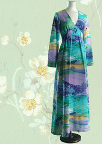 Hawaiian waterlily-pond print late 60s full-length gown
