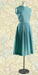 Late 50s blue cotton sleeveless dress with rhinestone detail