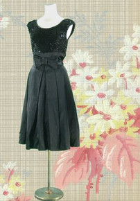 Satin and sequin black cocktail dress, mid 60s